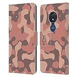 Head Case Designs Saumon Soft Camouflage Coque en Cuir à Portefeuille Compatible avec Motorola Moto...