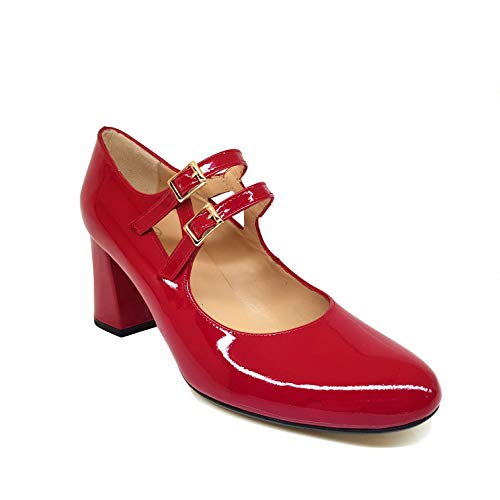 VRADOX - Salones Zapatos Rojos de Piel para Mujer con Punta Redonda y Tacon Ancho 7 cm - Cierre Hebilla Elastico - Forro de Piel - Planta Acolchada - Moda Tacones Elegantes - Rojo 34 EU
