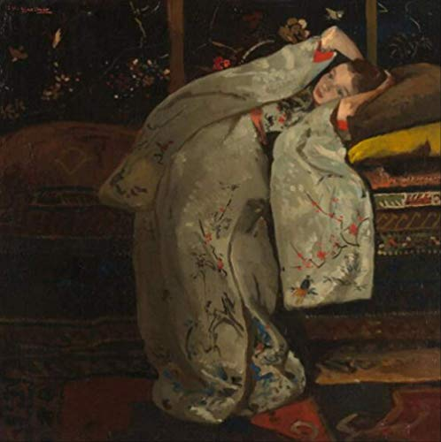 tytlwall Diy Digitale Schilderij Kits,Meisje In Een Witte Kimono Wandkunst Canvas Schilderijen Foto's Woonkamer Decoratie (50X50CM)