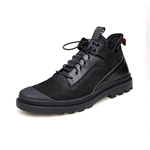 Comfortabel en ontspannen Ankle Boots For Men Hiking Sneakers Elastiek Koord Genuine Leather Patchwork Collision Avoidance Toe (fleece aan de binnenkant optioneel) hjm (Color : Black, Size : 41 EU)