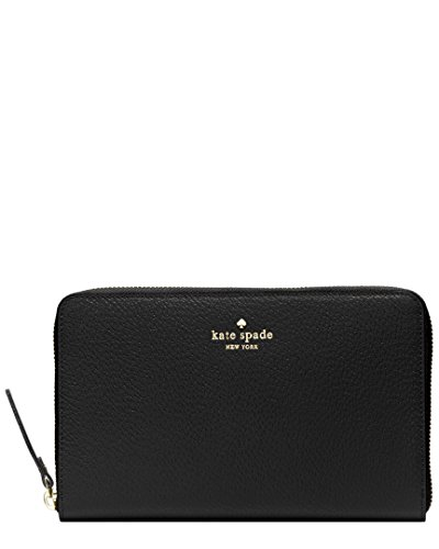 Kate Spade Grand Street Leather Zip Around Travel Wallet & Clutch (Black)