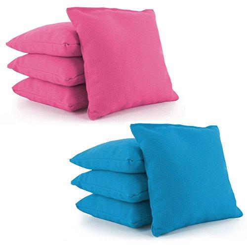 Tailor Spot alle Wetter beständig Cornhole Sitzsäcke (Set von 8) Set Standard ACA/ACO Verordnung Kunststoff Kunstharz gefüllt 25+ Farben, Kinder Herren Jungen damen unisex, Pink-Turquoise