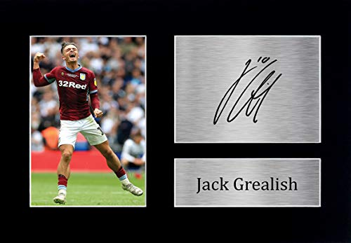 HWC Trading Jack Grealish Aston Villa Gifts Printed Signed Autograph Picture for Fans and Supporters - A4