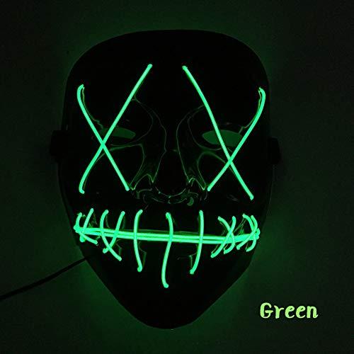 Sxgyubt Mscara de Halloween de miedo con luz LED en forma de V para festivales, cosplay, disfraz de color verde oscuro, juego de rol divertido para decoracin de fiesta de Halloween