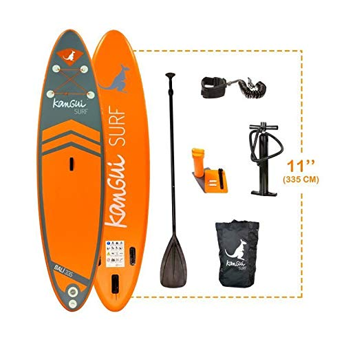 Kangui - Stand up Paddle 335cm Sup Gonflable + pagaie + Sac à Dos + Pompe Haute Pression + Leash +...