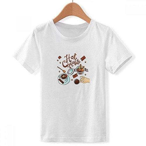 DIY thinker jongens warme chocolade desserts dranken Frankrijk crew hals wit T-shirt