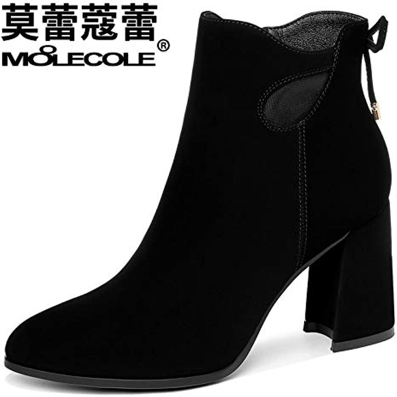HOESCZS Frauen Schuhe Herbst Stiefelies Wind Einfarbig Dick Heels Heels Mode Frauen Stiefel  beste Mode