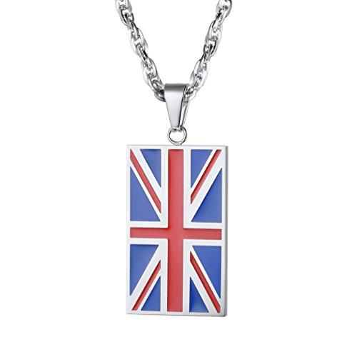PROSTEEL Staatsflagge Anhänger Rechteck Großbritannien Fahne Flagge Halskette Edelstahl Vaterlandsliebe Modeschmuck