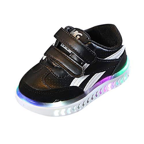Ears Babyschuhe mit Licht LED Jungen Mädchen Unisex Baby Kinder Sneaker Lauflernschuhe Sport Schuhe Kinder Baby Mädchen Letter Led Licht Leucht Sport Sneaker Running Sport Shoes (26, Schwarz)