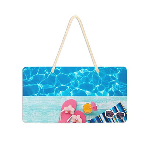 AQQA SignForFrontDoorHanging Summer Pool Rosa Sandalen von Swimming Pool DoorPlaquePersonalized SignForDoorRoom 11x6 Zoll mit Hang String Seil für Tür Veranda Home Wall Decorative