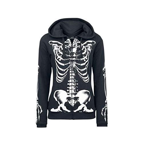 Yuandongxing Femmes Gothiques Hoodies Halloween Crâne Punk Rue Pull Causal Lâche Punk Plus Taille Hoodies Sweats
