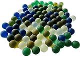 FAIRY TAIL & GLITZER FEE - Cápsulas de cristal multicolor, aprox. Juego de 95 bolas de cristal de 16 mm esmeriladas con relleno de mármol azul claro multicolor
