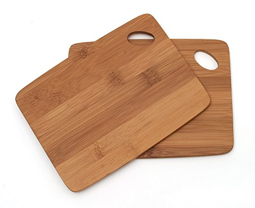 Lipper International 849 Bamboo Wood Thin Kitchen Cutting Boards with Oval Hole in Corner, Set of 2 Boards, 6' x 8'