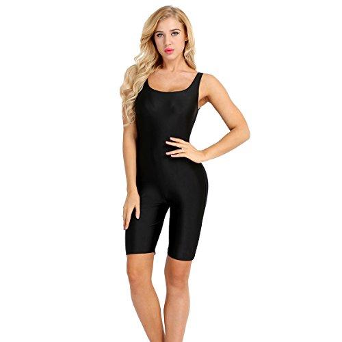 Freebily Las Mujeres Sin Mangas Negro Pantalones de Deporte de Yoga Mono Sin Espalda para Baile Gimnasia Negro Small