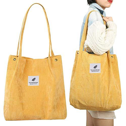 BAIBEI Corduroy Totes Tasche, Solide Schultertaschen, Canvas Solide Schultertasche Retro Casual Handtaschen Damen Schulterhandtaschen Große Kapazität Einkaufstasche, Gelb