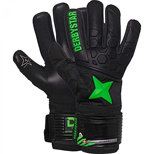 Derbystar Optimus - Guanti da portiere unisex, colore: nero/verde, 9,5 L
