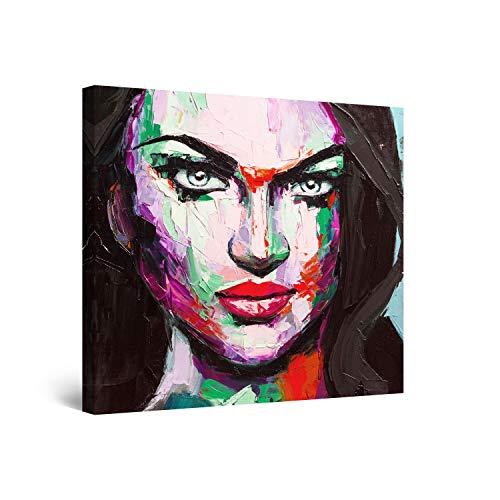 Startonight Cuadro Moderno en Lienzo - Eva Mujer Cara Pintada, Pensamientos Ocultos - Pintura Abstracta para Salon Decoración 80 x 80 cm