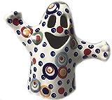 "Polish Pottery Halloween Ghost Tea Light in Unikat Pattern Celebration 5"" High 5.5"" Wide"