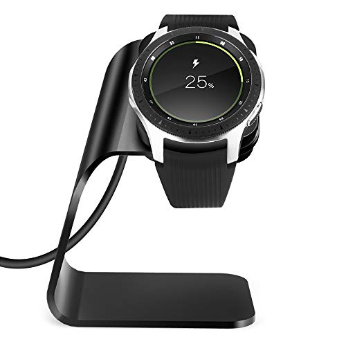 NANW Charger Compatible with Samsung Galaxy Watch 42mm 46mm Gear S3 (Not for Active), Replacement Charging Cradle Dock Station Adapter Holder Accessories with 4.2ft USB Charging Cable, Black