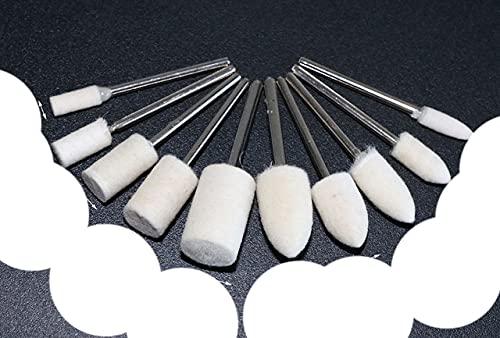10 almohadillas redondas para pulir pulido de 4 a 12 mm de fieltro de lana de 2,35 mm, superficie de metal para herramientas rotativas, varilla de 2,35 mm, mezcla de 10 unidades, 6 mm