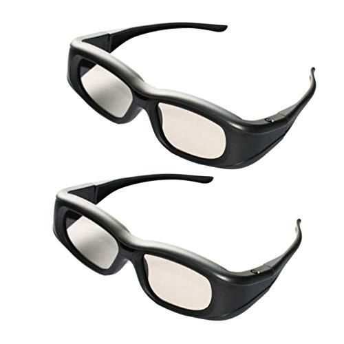 ZHLL 3D Shutter Glasses, Occhiali Bluetooth 3D Otturatore Attivo Ricaricabili Eyewear 120HZ Adatto per Epson Proiettori Sony Sony Panasonic Samsung TV 3D,2pcs