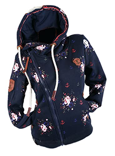 Zeralda Damen Sweat Jacke Kapuze Fleece gefüttert Hoodie Übergangsjacke Blume Anker M L XL 2XL (Blau, XXL)