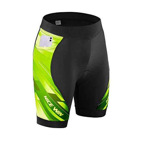 NICEWIN Womens 3D Padded Bike Shorts High Waist Riding Tights Quick-Dry Cycling Pants Yellow M