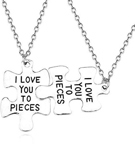 NC122 Collar con Colgante 2 Piezas I Love You Too Pieces Gargantilla Puzzle Corlour Letter Couple Best Friendss para Mujeres Hombres