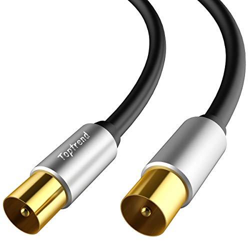 Toptrend PAL-Stecker/Stecker-Antennenkabel - RG59 75-Ohm-Koaxial-HF-Kabel - für TV, STB, DVD, VCR, Satellitenempfänger (1.8m)