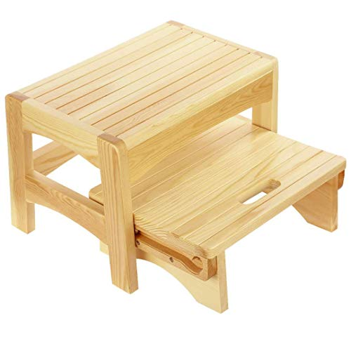 URFORESTIC Handcrafted 100% Solid Wood Bed Step Stool-Foot Stool Kitchen Stools Bed Steps Small Step...
