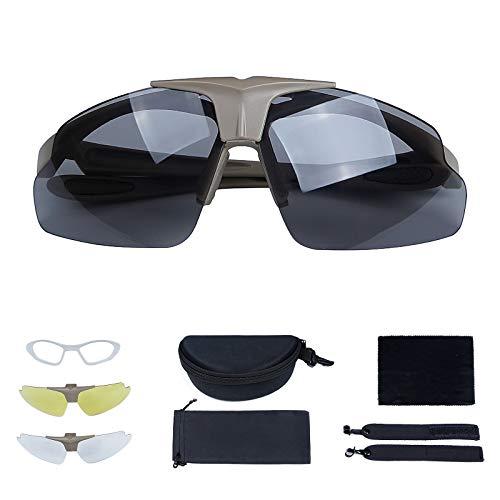 Huntvp Taktische Brille mit 3 Wechselobjektiv, Militär Sonnenbrille Sport FahrradbrilleArmee Schutzbrillen fürJagd Laufen AirsoftMotorradRadfahren Outdoor, Braun