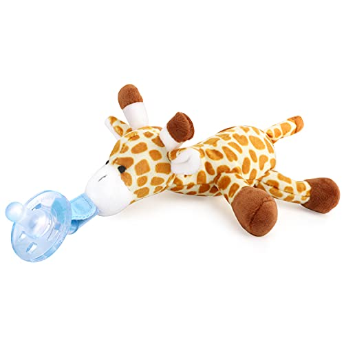 Zooawa Baby Pacifier Holder, Loveys for Baby Soothie Giraffe Pacifier Holder with Removable Detachable Plush, Toddler Stuffed Animal Pacifier for Infant Boys Kids Girls 0-36 Months