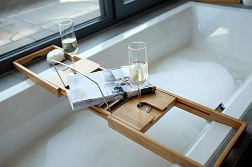 Badewannenablage mit Buchstütze und Glashalter - 5