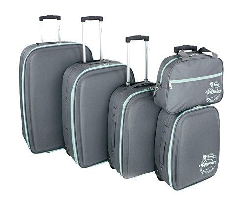 Traveller Rio 2 Rollen Stoff Koffer 4er Set inkl, Kleine Reisetasche - (XS, S, M, L & kl, Reisetasche), Grau