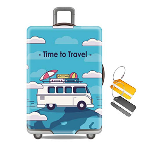 JoyCube Travel Luggage Protector, Elastic Suitcase Cover with 2 Luggage tag   Travel Trolley Stretchy Protective Case   Suitcase Dust Cover Washable Anti-Scratch Waterproof—— (22''-24'') Medium