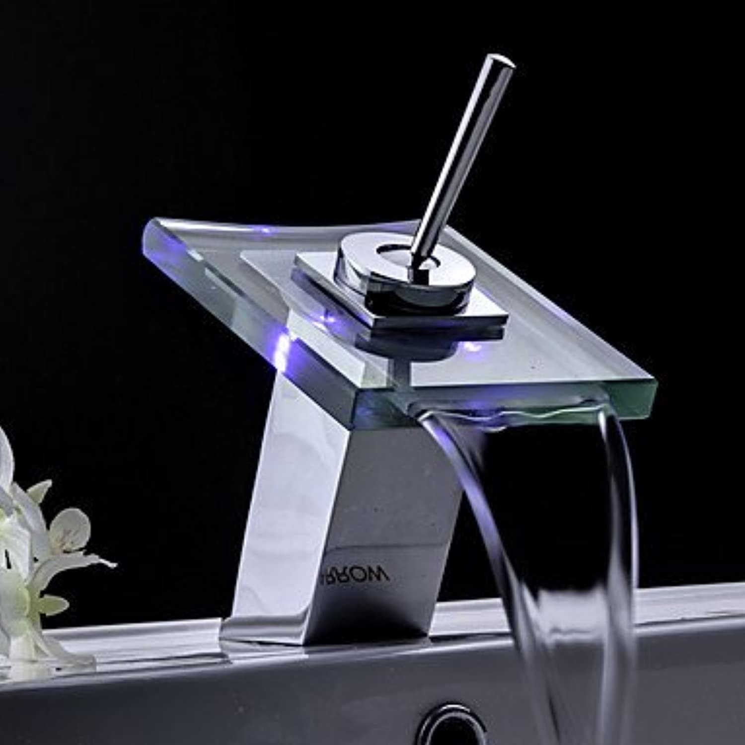 U-Enjoy Bathroom Sink Faucets Top Quality color Changing Led Waterfall Home Bathroom Kitchen Tap Glass Spout (Free Shipping)