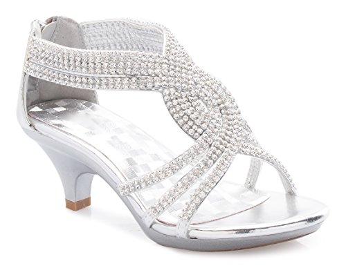 Olivia K Girls' Kids Open Toe Strappy Rhinestone Dress Sandal Low Heel Shoes - Wedding, Dress, Dance, Flower Girl, Silver Y4