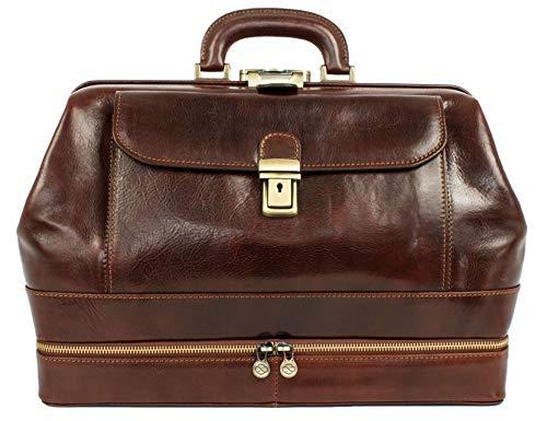 Leder Doktortasche Arzttasche Aktentasche Vintage-Stil Arzt Tasche Umhängetasche Braun - Time Resistance
