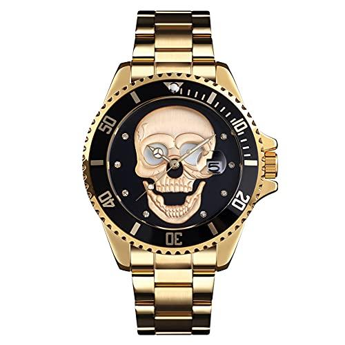 XIAN Reloj de Calavera para Hombre, Reloj de Cuarzo, Deportes de Moda, Relojes de Negocios de Acero Inoxidable a Prueba de Agua, Reloj de Pulsera Luminoso,003