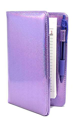 "Industry Night Pretty Purple Sparkle Metallic 8"" x 5"" Holographic Server Book Organizer for Waitress"