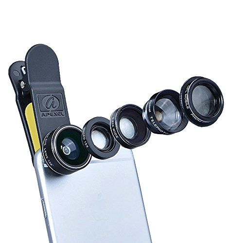 NatoGears - Apexel Deluxe Universal 5 in 1 Camera Lens Kit for iPhone 7 6/6s 6Plus/6s Plus, Samsung S7/S7 Edge, S6/S6 Edge Note 5 & 4