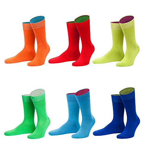 von Jungfeld - Herren Socken/Strumpf Herrensocken 6er-Pack 45-47 Regenbogen