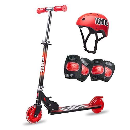 Ignite Flow - Patinete plegable con neumáticos luminosos, rodilleras y casco para niños a partir de 5 años, color rojo