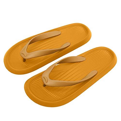 Urijk Flip-Flops für Damen, Herren, dicker Boden, Badeschuhe, leicht, weich, rutschfest, leise, für den Innen- und Außenbereich, Meer, Schwimmbad, Hausgebrauch (Gelb, 23 – 23,5 cm (36 – 37 Jahre)