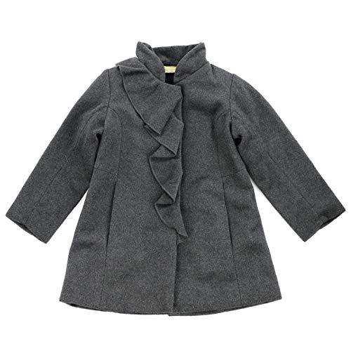 Ana-Liza Mandarin Collar Wool Blend Ruffle Peacoat (Ash Gray, 5)