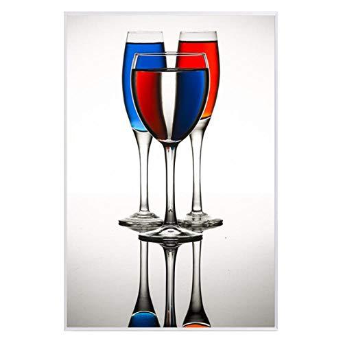 Mmdianpu Leinwandmalerei Weinglas-Trinkflasche Nordic Poster Leinwanddruck Wandmalerei für Esszimmer Küche Büro Wohnkultur (40x60 cm ohne Rahmen)