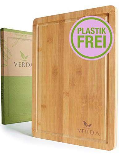 VERDA®️ Bio Bambus-Schneidebrett - 40x30x2cm Großes und Extra Dickes Bambus-Schneidebrett - In Handarbeit Gefertigt, Geölt & Poliert in Premium Qualität - Komplett Plastikfrei
