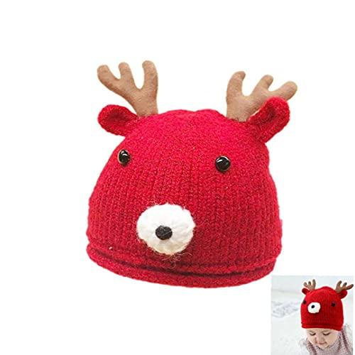1pc Weihnachten Fawn Wollmütze Kinder-Strickmütze Karikatur3d Woll Herbst und Winter Weihnachten Fawn Pattern Warm Knit Linie Hut