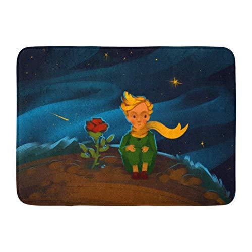 """NCH UWDF Felpudos Alfombras de baño Alfombrilla para Puerta Niño Colorido El Principito y Rose en el Planeta en el Hermoso Cielo Nocturno Raster Acuarela Feliz 15.8""""x23.6"""""""