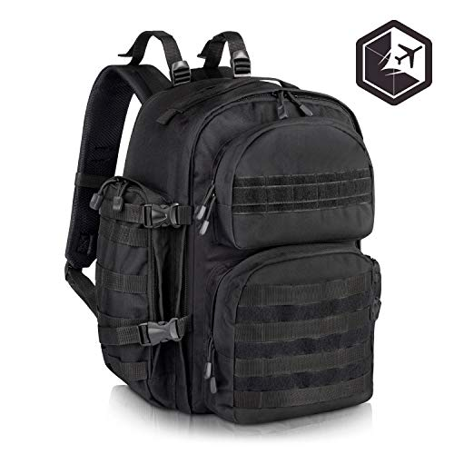 Premium Black Military Tactical Backpack for Men - Large Assault, Water Resistant, Survival Rucksack and Molle Bug Out Bag - Ideal for Hiking, Camping, Trekking, Outdoor and Hunting